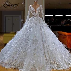 Image 1 - Abendkleider 터키 이슬람 두바이 kaftans 흰 깃털 미인 대회 파티 드레스 2020 최신 긴 댄스 파티 드레스 스팽글 이브닝 가운