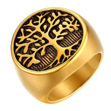 BONISKISS Punk Stainless Steel Tree Of Life Ring Silver Color Gold  Rings For Men Jewelry Gift 2020