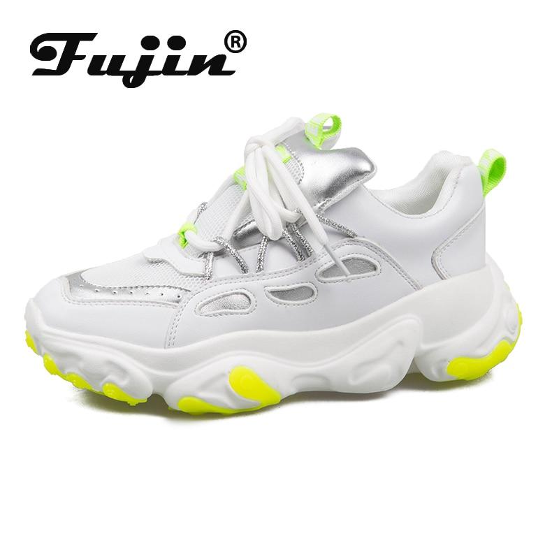 Fujin Women Vulcanize Shoes Spring Dropshipping Casual Mesh Cross Tied Mixed Colors Fashion Thick Bottom Student Women Sneakers