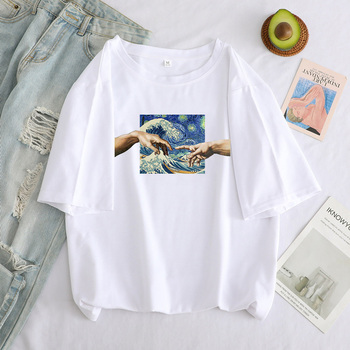 T Shirt Women Aesthetic Hand Print New Michelangelo Funny Cartoon y2k tops Oversized Graphic T-Shirt Casual Tshirt Female Tees 1