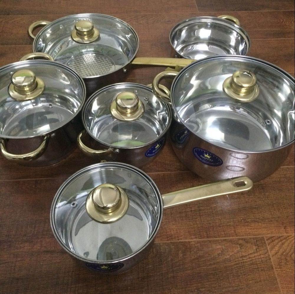 Batterie de cuisine ustensiles Casseroles Inox Inox marmite 12 pièces Casseroles et Casseroles