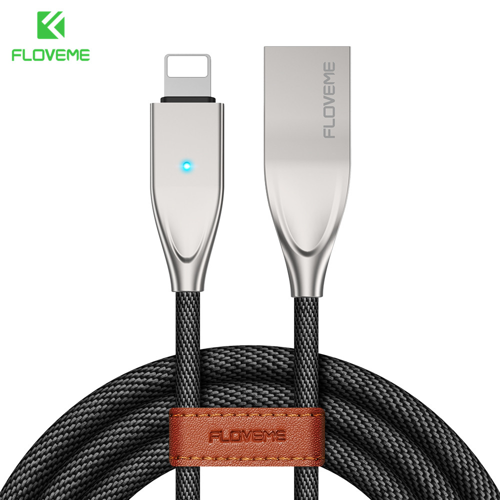 FLOVEME For Lightning To USB Cable For iPhone X 8 7 6 6S 5 5S SE For iPad Charger 1.2M Safe durable LED Sync Cable Fast Charging-in Mobile Phone Cables from Cellphones & Telecommunications on AliExpress