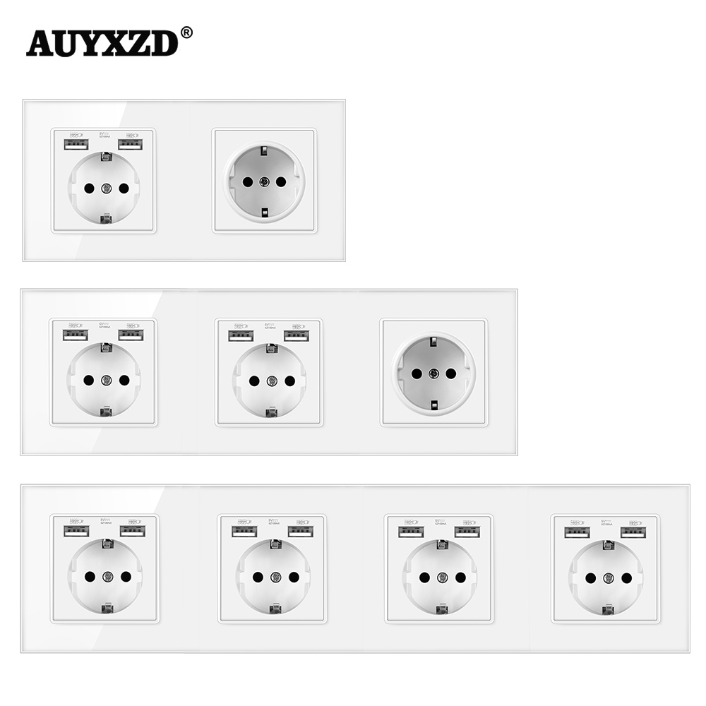 AUYXZD Power Socket Plug Has Been Grounded Crystal Tempered Glass Panel German-Style 16A EU With USB Charging Port 2.1 110-250V