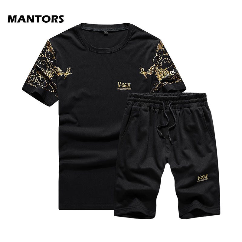 2019 Summer Mens Tracksuit Men Sets Fashion Print Sportswear T-Shirt+Shorts Brand Track Suits Jogging Clothing Casual 2 PCS Set