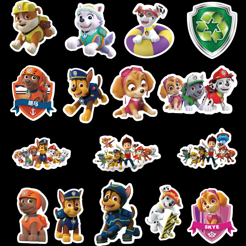 50pcs/set PAW Patrol Stickers Puppy Patrol PVC Graffiti Stickers Travel Case Luggage Car Stickers Waterproof Toys Kids Gifts