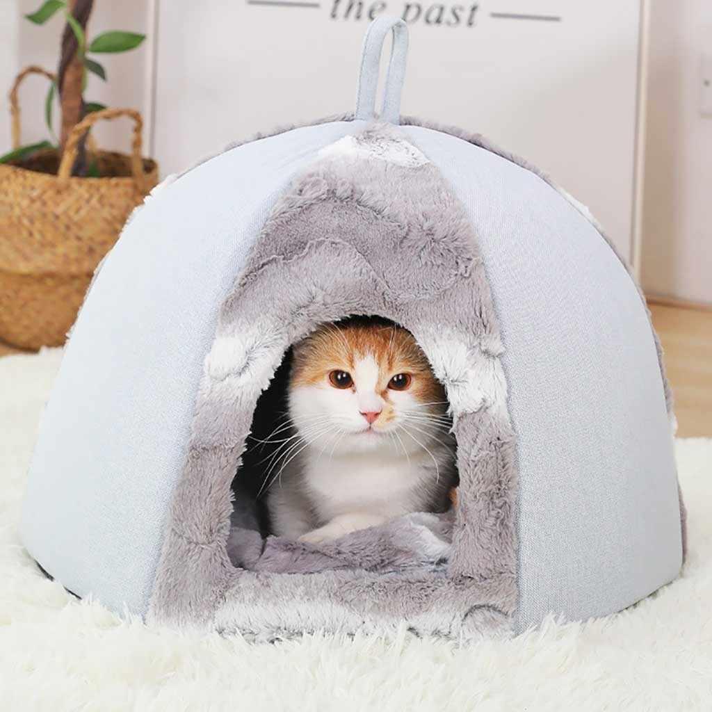 Mascota perro gato tienda casa perrera invierno cálido nido suave plegable almohadilla para dormir impermeable Fondo suave polar cálido gato cama casa