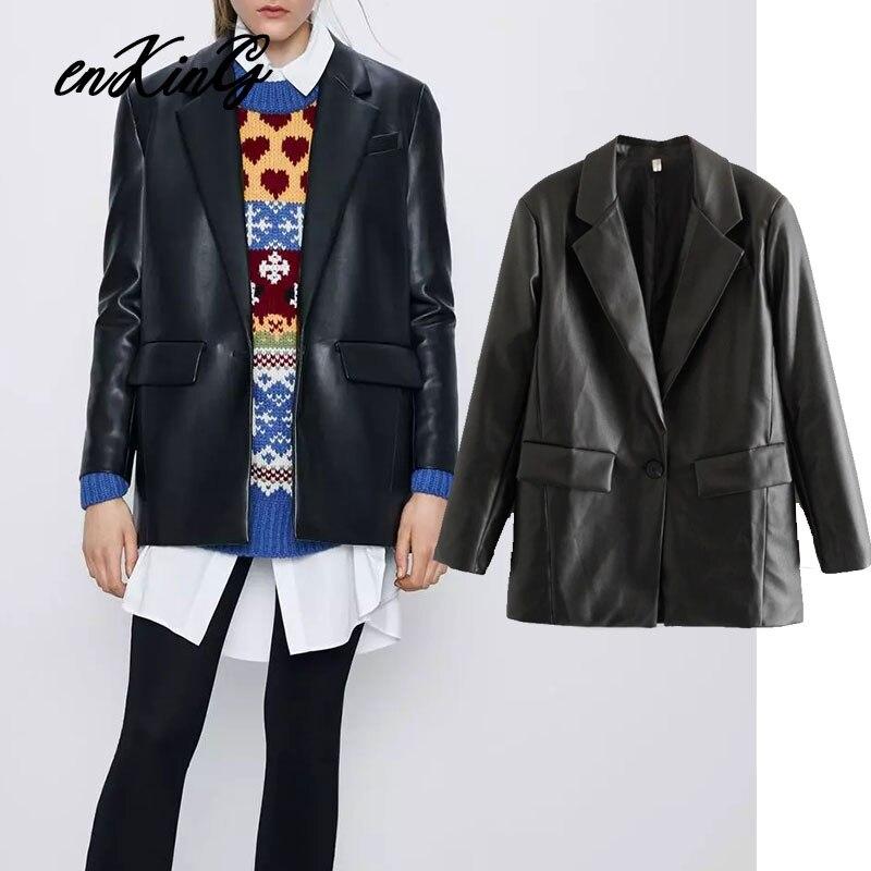 2020 england high street vintage loose leather PU blazer feminino blazer women blazer mujer  women blazers and jackets