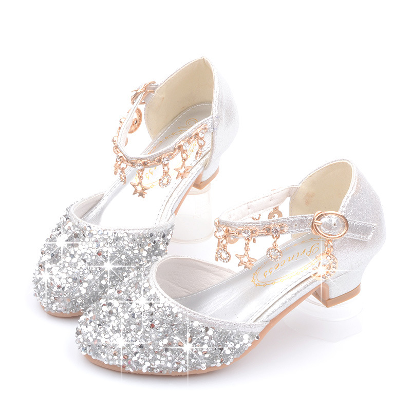 Dance Glitter Little Girls Heels Sandals 2019 Big Kids Shoe For Children Summer Leather Sandals 3 4 5 6 7 8 9 10 11 12 13 Year