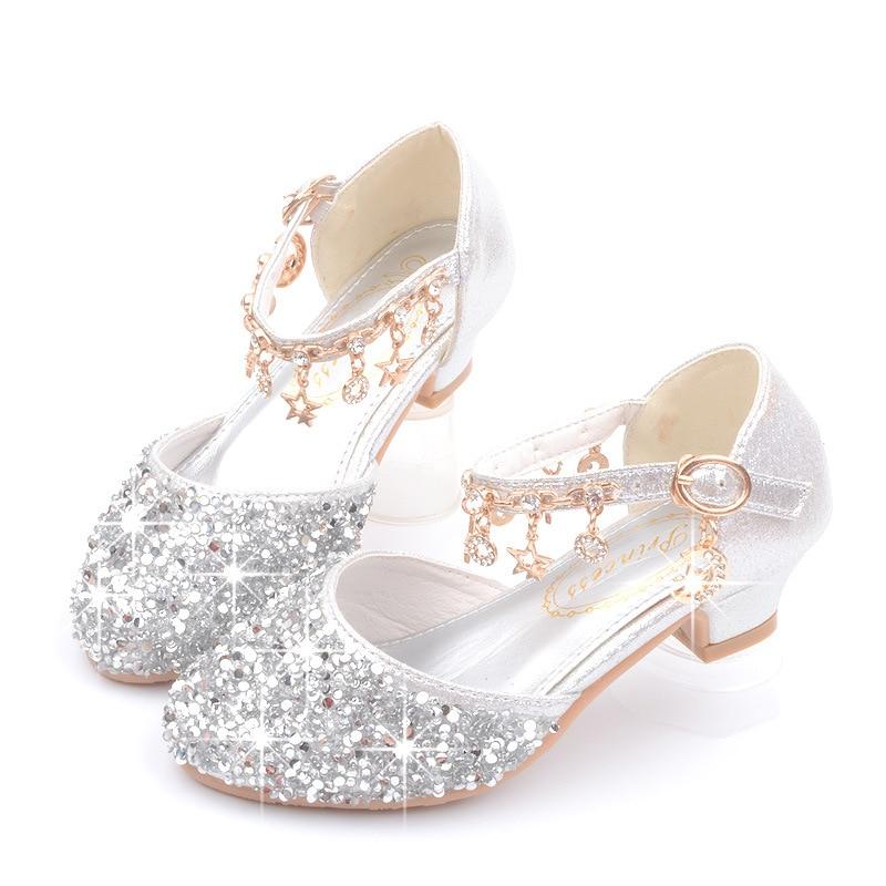 Dance Glitter Little Girls Heels Sandals 2019 Big Kids Shoe For Children Summer Leather Sandals 3 4 5 6 7 8 9 10 11 12 13 Year