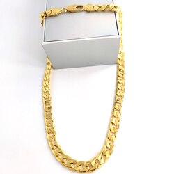 Bijoux pour homme 24 k G/F solide collier en or fin 12MM carré gourmette chaîne à maillons Xmas fils papa Logo 18kt Carat timbre lourd