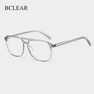 Image 1 - BCLEAR Ultra Light TR90 Retro Black Transparen Double Beam Men Glasses Frames For Prescription Eyeglasses Optical Eyewear H8024