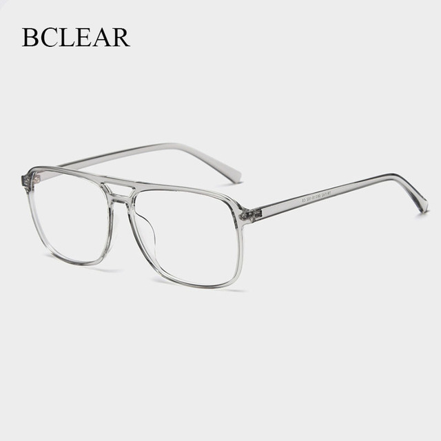 BCLEAR Ultra Light TR90 Retro Black Transparen Double Beam Men Glasses Frames For Prescription Eyeglasses Optical Eyewear H8024
