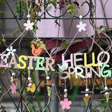 HAPPY EASTER Party Door Hanging Sign Wooden Pendant Easter Egg Bunny For Home Decor Easter Wreath Supplies Wood Crafts Ornaments
