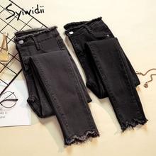 Jeans Woman Pencil-Pants Stretch Skinny Blue Vintage High-Waist Plus-Size Gray Summer