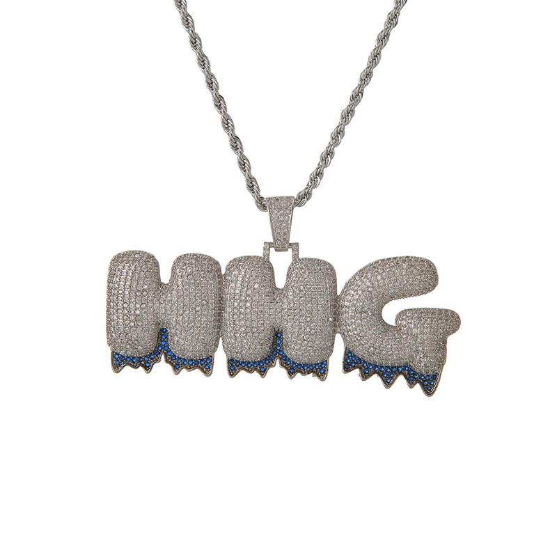 Porte-bonheur Sonny nom personnalisé bleu goutte à goutte bulle lettres chaîne A-Z collier Initial et pendentif hommes Zircon Hip Hop Bijoux Bijoux LSN022