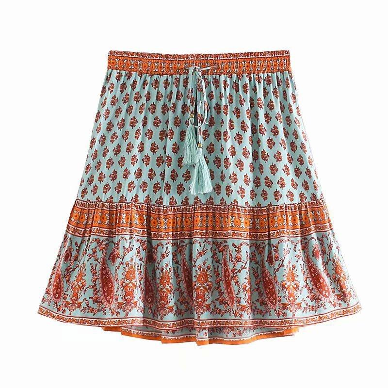 2020 Women's New Cashew Rayon Positioning Printing Elastic Waist Skirt Sexy Mini High Waist Skirts Womens Clothes Faldas Mujer