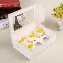 10 szt. Pudełeczko na babeczkę z przezroczyste okienko pudełeczko na babeczkę es taca na 2/4/6 filiżanek impreza z tortem świąteczne jedzenie zaopatrzenie kuchni