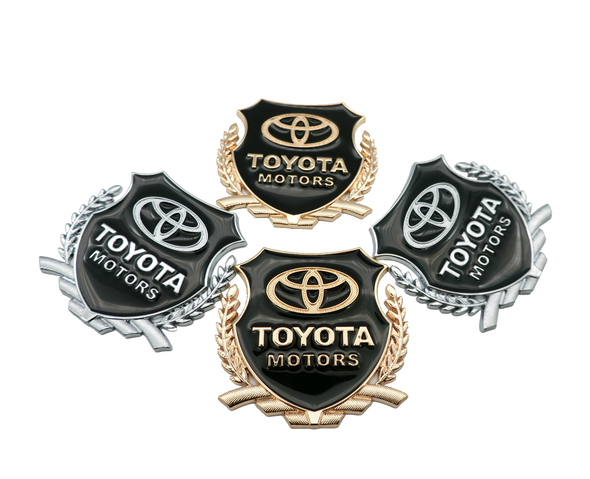 Metal Car Side Alloy Car Side Sticker Door Badge Stickers Side Window Emblem Decals For Toyota Camry Corolla RAV4 Highlander