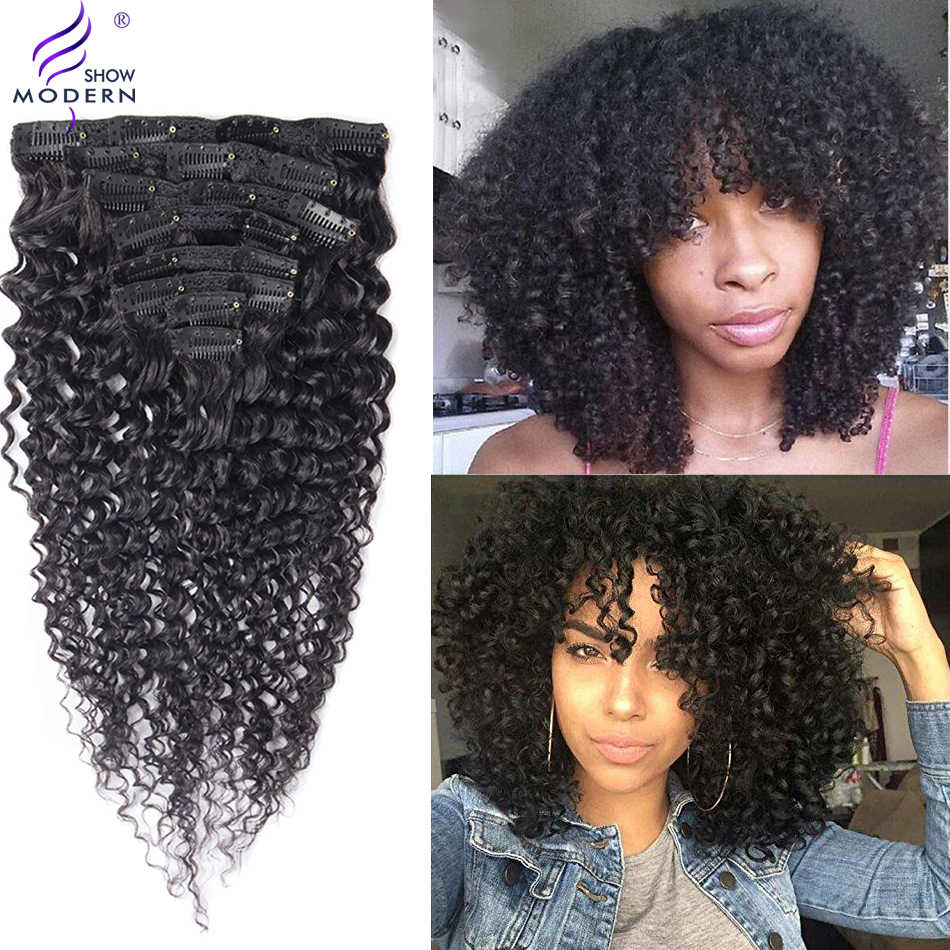 Brazilian Curly Clip In Human Hair Extension 120g Natural Hair In Clips Remy Hair Natural Color 8pc/set