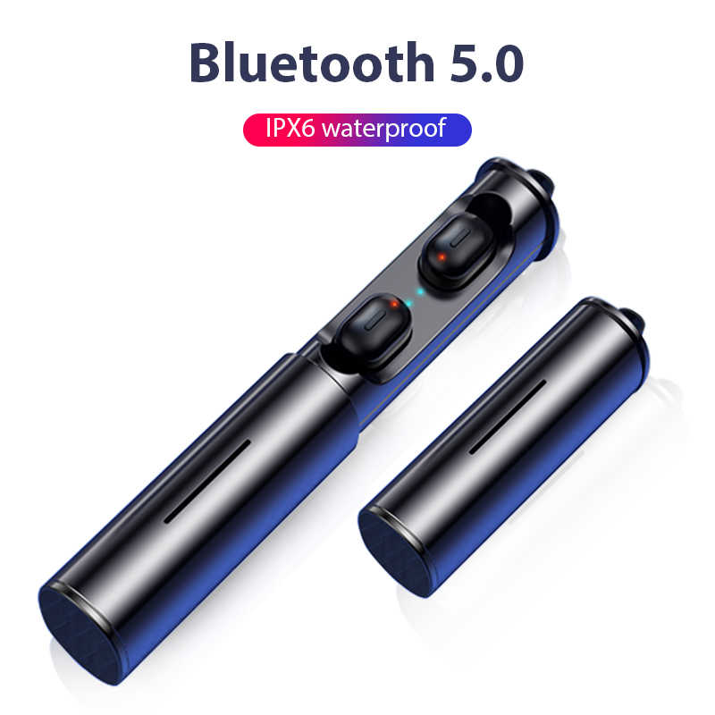 Tws Bluetooth Earphone 5.0 Benar Nirkabel 3D Stereo Speaker Mini dengan Dual MIC Olahraga Tahan Air Earphone Auto Pairing Headset