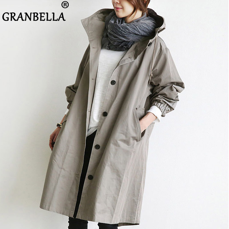 Women's Trench Coat Plus Size M-4XL Hoodie Windbreaker Solid Pockets Button Lightweight Overcoat Big Size Hooded Cloak
