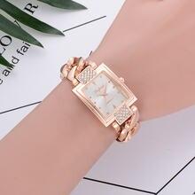 Женские Модные кварцевые наручные часы с браслетом из сплава