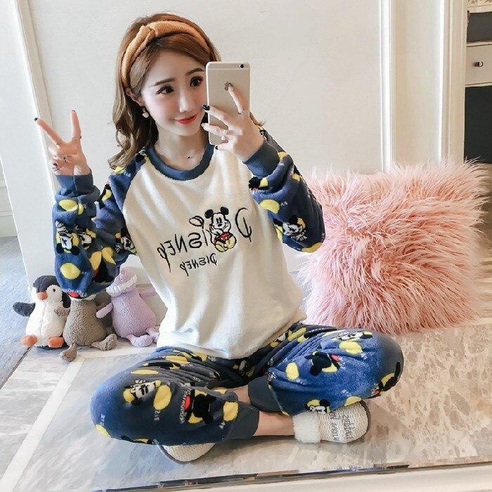 korean Flannel Warm Pajamas for Women Long Sleeve Home Suit Ladies sleepwear cartoon Velvet Pajama set Thick Feminino Pyjamas 94