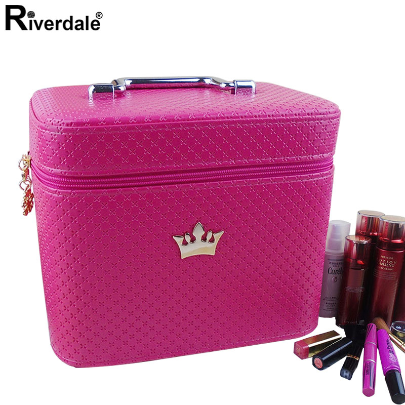 Brand Female Crown Makeup Case With Mirror Beauty Travel Make Up Box Organizer Leather Brush Professional Cosmetic Storage Bag