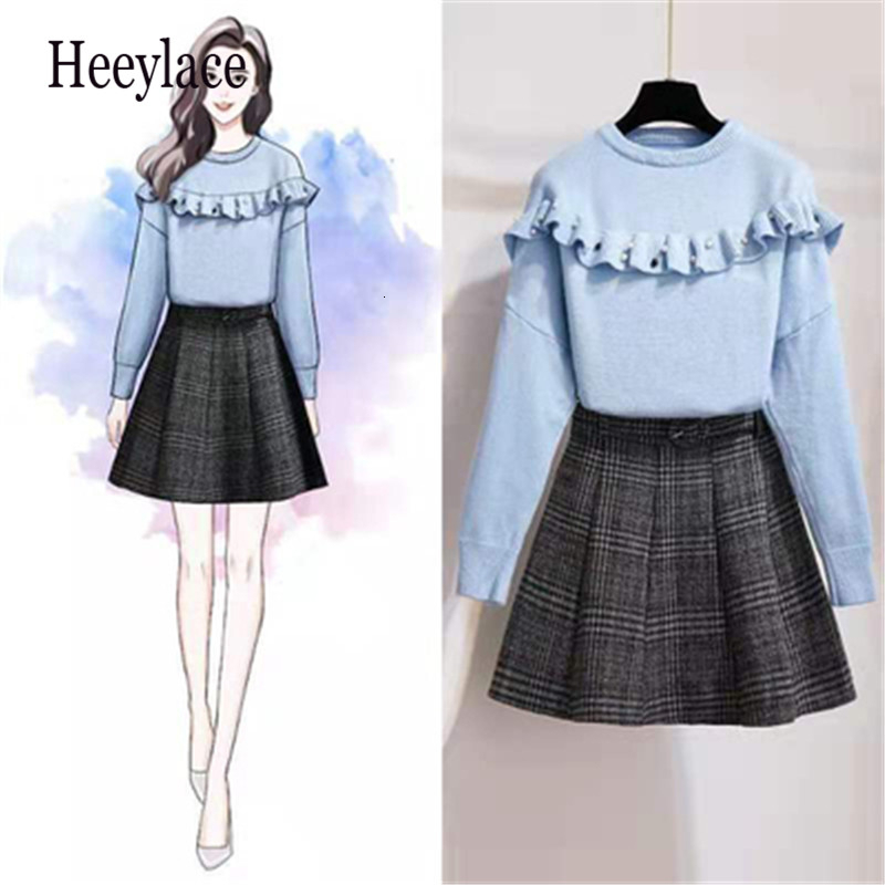 Small Fresh Style Autumn Women Sweater Skirt 2-piece Sets O-Neck Long Sleeve Ruffles Beaded Knit Tops+Woolen Plaid Mini Skirt
