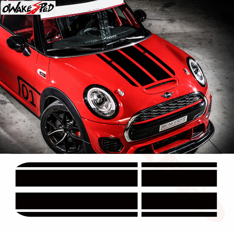 Car Sticker Sport Stripes Styling Auto Hood Trunk Engine Cover Bonnet Decor Decal for BMW MINI John Cooper Works F56 JCW