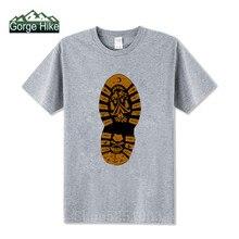 Мужская футболка с принтом для горных ботинок, футболка для пеших прогулок, забавная альпинистская футболка с круглым вырезом, 100% хлопок, ту...