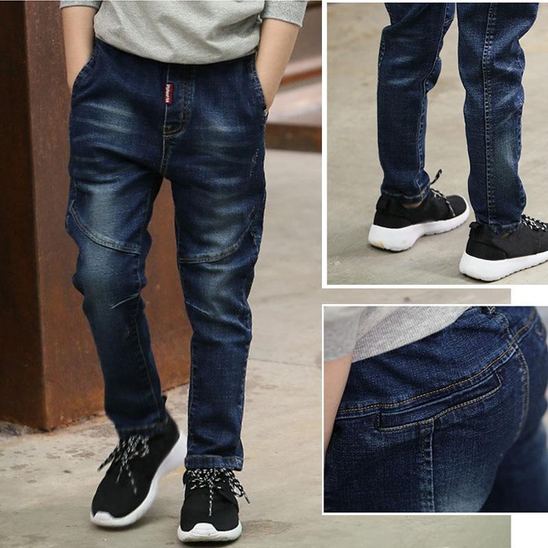 DIIMUU 1PC Fashion Children Boys Clothing Casual Jeans Pencil Pants Elastic Waist Denim Cotton Light Washed Bottoms Trousers