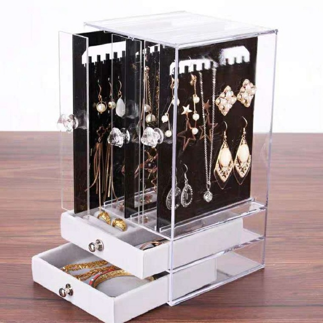 High-end Earrings Plastic Storage Box Portable Earrings Drawer Transparent Dust-proof Display Box Makeup Jewelry Rack Organizer