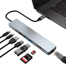 USB-концентратор tebe типа C на 4K HDMI RJ45 USB SD/TD кардридер PD Быстрая зарядка 8 в 1 многофункциональный адаптер для MacBook Pro