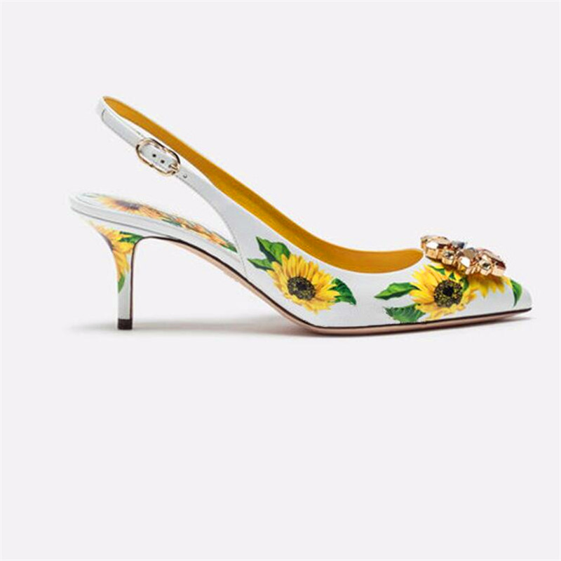 Jaune tournesol impression cuir pompes formelles dames chaton talon robe chaussures bout pointu cristal embelli frondes