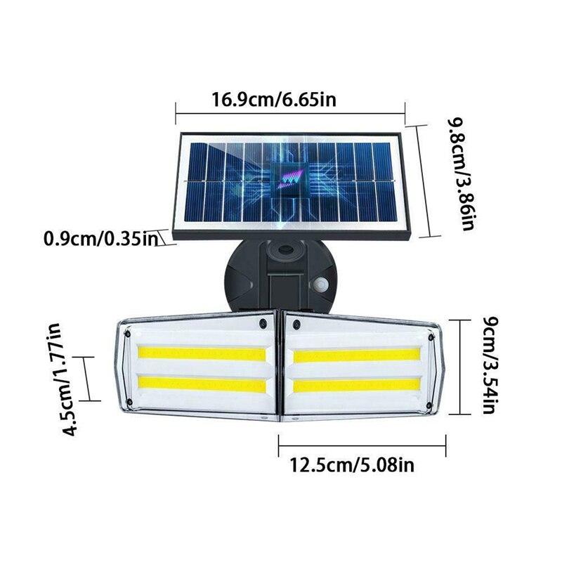 radar luz solar cob lâmpada de parede