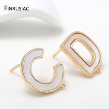 2020 New Unique Design 925 Silver Needle Earring Accessories 14k Gold Plated Simple White Shell CD Letters Earrings Findings