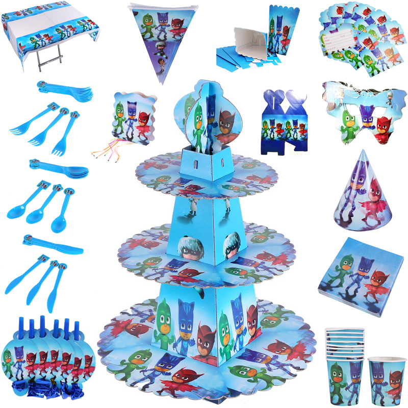 Pj Masks Toys Outdoor Fun Cartoon Anime Figures Pattern Disposable Party Tableware Supplies Children Happy Birthday Decorations
