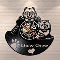 Винтажные настенные часы Chow  виниловые часы с записью в любви Songshi Quan Chowdren LP  настенные часы с изображением собак  подарки для хозяина собаки