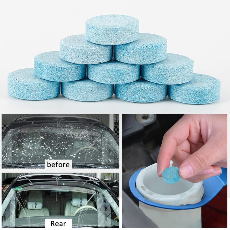 100pcs Car Solid Wiper Effervescent Tablet Cleaner Auto Windshield Glass Windows Cleaning Tool Windshield Cleaner TSLM1