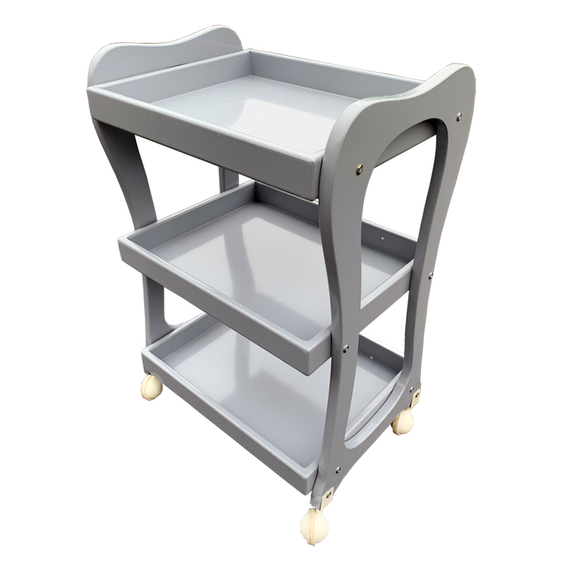 High-quality Paint Beauty Cart Compressed Solid Wood Board Three-layer Mobile Nordic  Car Nail