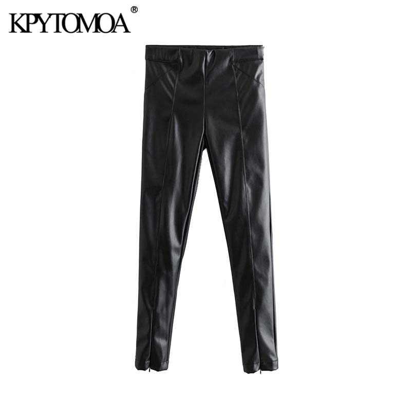 Vintage elegante imitación PU cuero pantalones flacos mujeres 2020 moda cremallera lateral elástico cintura estiramiento Delgado ajuste mujer tobillo Pantalones
