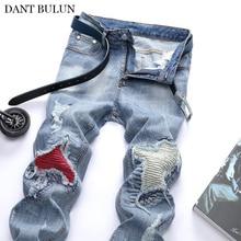 Новые узкие джинсы мужчин байкер мода на плиссированные лоскутное дизайнер светло-синий эластичные брюки высокое качество человек