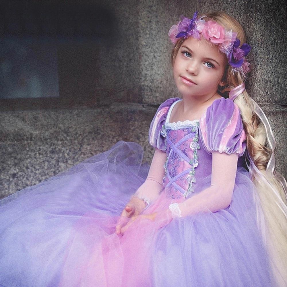 Long Sleeve Girls Christmas Dress Princess Dress up Halloween Party Gown Cartoon Character Cosplay Costume for Kids Children 3