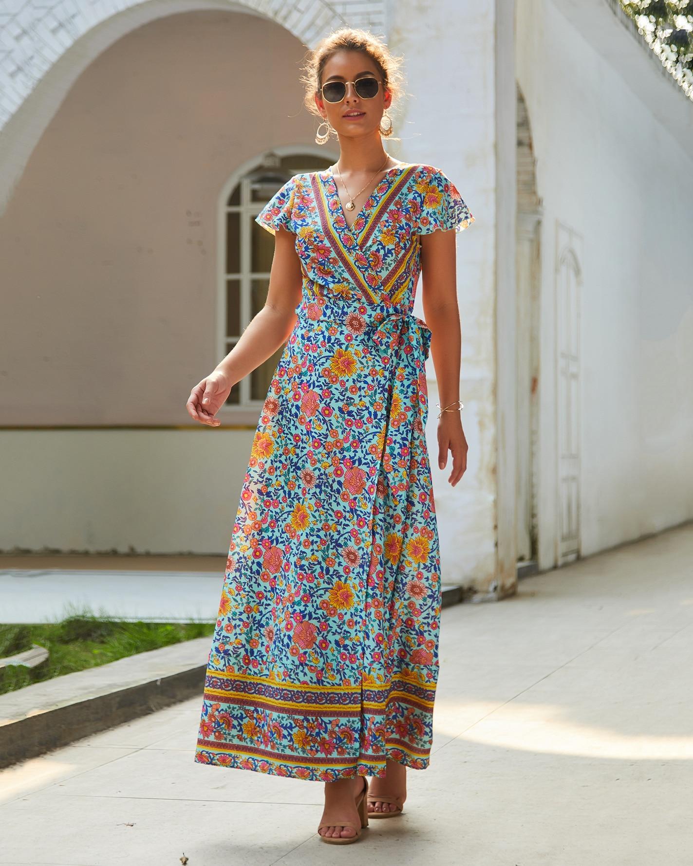 Vintage Print Maxi Boho Sashes Long Red Split Floral Beach Sexy V-neck Dress