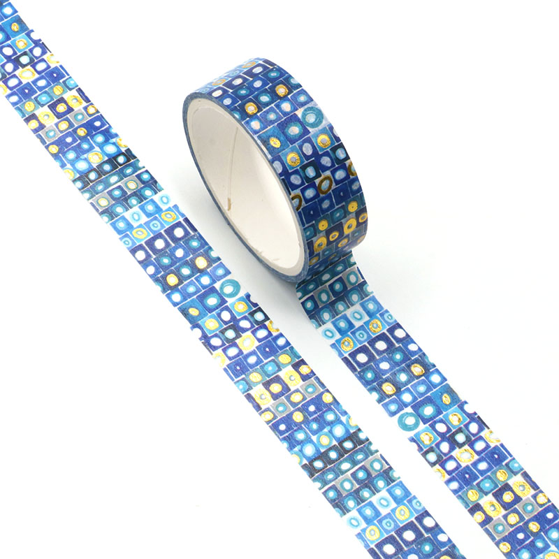 NEW 1pc Cute Gold Foil Blue Blackground Washi Tape For DIY Planner Scrapbooking Decorative Masking Tape School Office Supplies