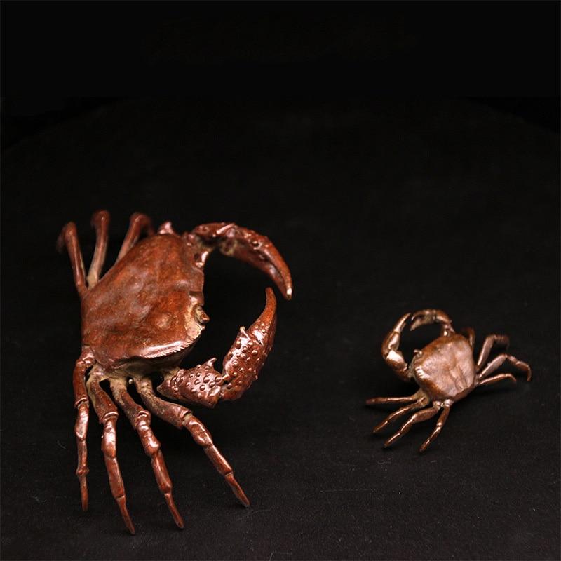 Pure Copper Tea Pet Solid Crab Antique Statue Copper Teapot Cover Tea Table Home Office Desk
