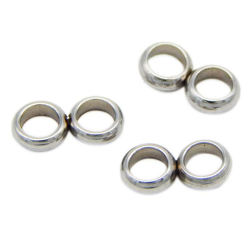 10 pièces/lot en acier inoxydable Double trou entretoise perles 2mm 3mm 4mm trou intérieur connecteur boucle en acier perles bijoux à bricoler soi-même faire des résultats