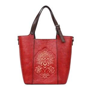 Image 3 - Johnature Retro Luxury Handbags Women Bucket Bag 2020 New Vintage Large Capacity Floral Cowhide Handmade Embossing Shoulder Bags