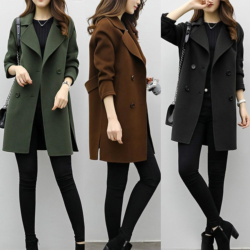 Women Jackets Wool Blends Loose Long Sleeve Two Breasted Belted Blends Jacket Coat Women Knee Length Wool Blends Womens Jackets